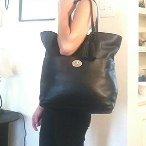 Coach Large Black Leather Legacy Carryall Tote
